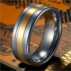 Unique RnB Male Tungsten Ring Two Tone Wedding Band 8mm | RnBJewellery... LOVE THIS RING!