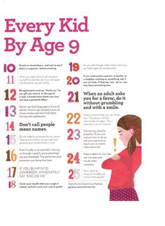 25 Manners Every Kid Needs by Age 9.  Would be a good FHE