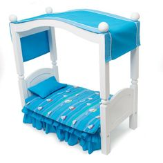 Ocean Waves Canopy Bed Cover: Jenna will be dreaming of breezy summer days and bright blue skies with this canopy cover on her bed. Canopy Frame, Canopy Cover, Canadian Girl Dolls, Fabric Canopy, Doll Furniture, Ocean Waves, Bed Covers, Bunk Beds, Toddler Bed