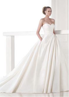 Glamorous Satin Sweetheart Neckline Natural Waistline A-line Wedding Dress