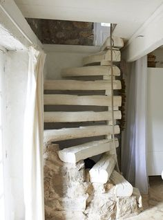 A renovated barn house for a family of four in the French countryside via IKEA Family Live. Rustic Stairs, Wooden Stairs, Stairway Decorating, Houses In France, Barn Renovation, House Stairs, French Countryside, Stairways, Interior And Exterior