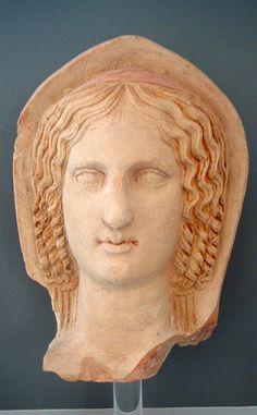 Terracotta head of a woman, Roman, mid  3rd century BCE, from Lucerna, votive deposit on the Belvedere hill.  Museo di Archeologia Urbana, Lucerna.