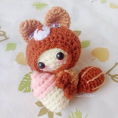 Squirrel and Ice cream keychaincrochet bag by EarnCrochet on Etsy