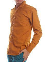 Wide Lapel Mustard Dress Shirt| $19