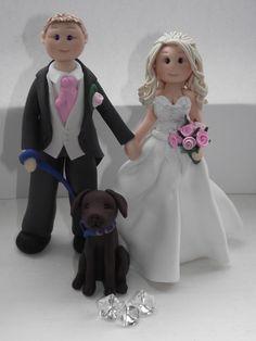 personalised bride groom & pet wedding by babytracyscaketopper, £30.00