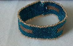 Teal peyote bracelet by BeadingbyAlice on Etsy