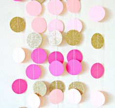 Gold and pink paper circle garland gold glitter by Pelemele