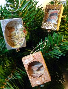 I have been working on these little match box ornaments a little at a time while I was working on a few other projects. Just to clarify, the. Christmas Card Crafts, Christmas Ornaments To Make, Miniature Christmas, Christmas Makes, Retro Christmas, Christmas Projects, Holiday Crafts, Christmas Holidays, Christmas Decorations