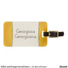 Shop Yellow and Orange Curved Lines + Personalized Name Luggage Tag created by AponxDesigns. Curved Lines, Custom Luggage Tags, Standard Business Card Size, Orange, Yellow, Baggage, Bags, Accessories, Color