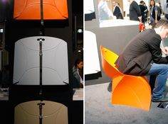 The Flux Chair!  Inspired by a folded paper sculpture, and it behaves the same way!  Super cool design.