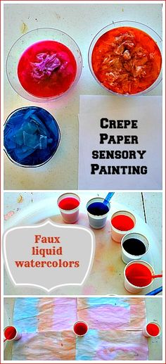 Sensorial art activity with simple materials..That's not all- Kids can make their own simple faux liquid water colors
