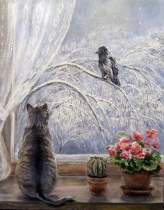 Paintings with cats sitting in a window. Cats by window in fine art. Art And Illustration, Illustrations, Cat Drawing, Painting & Drawing, Animal Paintings, Art Paintings, Ouvrages D'art, Beautiful Paintings, Cat Art