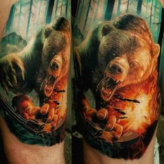 realistic tattoo attack of the bear