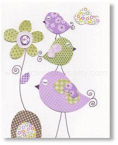 Bird nursery Pink Kids wall art nursery art by GalerieAnais Applique Patterns, Applique Quilts, Applique Designs, Bird Nursery, Nursery Wall Art, Nursery Decor, Room Decor, Babies Nursery, Wall Decor