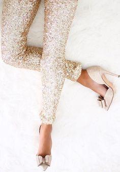 Glitter pants + bow heels