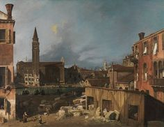 Canaletto - The Stonemason's Yard - Canaletto  La cour du tailleur de pierre (vers 1725, National Gallery, Londres).  Giovanni Antonio Canal
