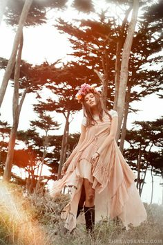 Floral crown + dress + woods + colors // Threadsence