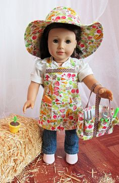 Gardening/Outdoor Apron Tote and Hat Ensemble for 18