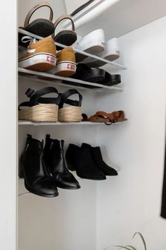 "If like Carrie Bradshaw of ""Sex and the City"" you live for fashion and love shoes, then storage most certainly … Shoe Storage Hacks, Hanging Shoe Storage, Shoe Storage Solutions, Hanging Shoes, Closet Shoe Storage, Smart Storage, Storage Ideas, Shoe Hanger, Shoe Rack"