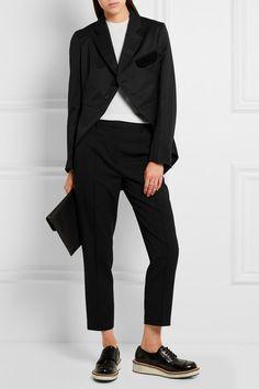 Black wool-gabardine and velvet Button fastenings through front 100% wool; trim…