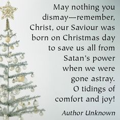 Quote: May nothing you dismay--remember, Christ, our Saviour was born on Christmas day to save us all from Satan's power when we were gone astray.  O tidings of comfort and joy!  --Author Unknown