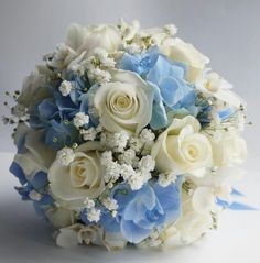 Prom Flowers, Blue Wedding Flowers, Bridal Flowers, Flower Bouquet Wedding, Wedding Colors, Cinderella Quinceanera Themes, Quinceanera Decorations, Cinderella Wedding, Quinceanera Party