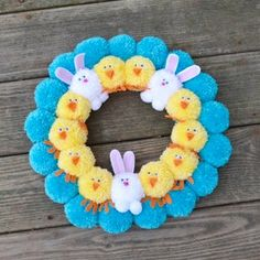 Easter Pom Pom Wreath with Bunnies and Chicks Bright Easter | Etsy Crafts For Teens To Make, Easter Crafts For Kids, Easter Decor, Craft Stick Crafts, Diy And Crafts, Pom Pom Kranz, Pumpkin Ornament, Pom Pom Wreath, Pom Poms