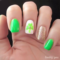 Lacquered love *Use Green flower instead* nail design