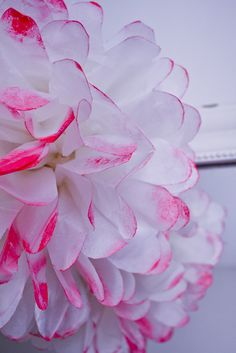 pompon rose fluo + papier soie