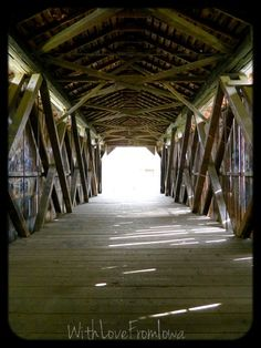 Inside Owen's Covered Bridge at Easter Lake in Des Moines, Iowa