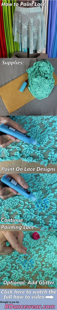 How to paint on lace for a DIY dance costume.