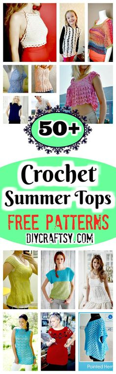 Quick & Easy Crochet Summer Tops Free Patterns is part of Summer crafts Free Crochet - we have shared here a collection of 60 easy crochet summer tops free patterns that are all easytocrochet and demand for an intermediate or beginner skill Crochet Summer Tops, Summer Knitting, Crochet Tops, Crochet Sweaters, Crochet Shirt, Cute Crochet, Black Crochet Dress, Crochet Woman, Crochet Fashion