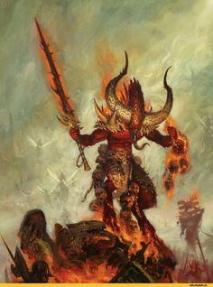 Warhammer age of sigmar epic khorne daemon herald artwork battle ilustration fantasy 1 Fantasy Battle, Fantasy Rpg, Medieval Fantasy, Dark Fantasy Art, Fantasy Artwork, Warhammer Fantasy Roleplay, Warhammer 40k Art, Warhammer Armies, Vampires