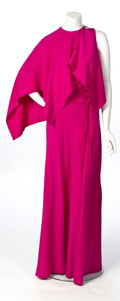 Leslie Hindman- A Madame Gres Raspberry One Shoulder Gown