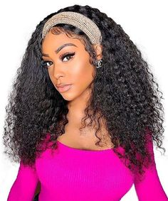 Deep curly wave machine human hair wigs Headband Wigs, Deep Curly, Weave Hairstyles, Human Hair Wigs, Lace Wigs, Hair Extensions, Wave, Cool Style, Hair Styles