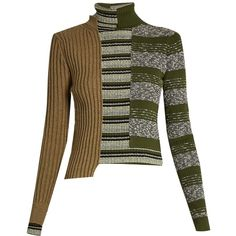 Maison Margiela Patchwork roll-neck ribbed-knit sweater (28.535 CZK) ❤ liked on Polyvore featuring tops, sweaters, green multi, roll neck sweater, stripe sweater, striped sweater, a line tops and patterned sweaters