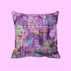 Large Throw Pillow, Violet, vintage bird cage from Zazzle.com