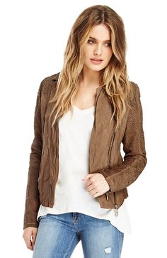 DOMA Perforated Leather Jacket in Camel M | DAILYLOOK