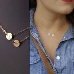 Layered Petite Initial Necklace, Two Initials Necklace, Gold Filled or Sterling Silver. LOVE THESE. MCF AND KBF!!