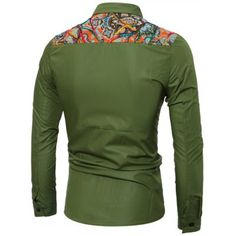 Colorful Floral Spliced Long Sleeve Pocket Shirt #shoes, #jewelry, #women, #men, #hats, #watches, #belts