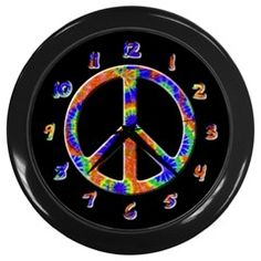 Tie Dye Peace Sign Wall Clock
