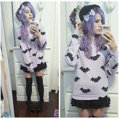 Pastel Goth Outfits, Pastel Goth Fashion, Dark Fashion, Kawaii Fashion, Gothic Fashion, Diy Clothes Tops, Diy Summer Clothes, Diy Clothes Videos, Refashion Dress