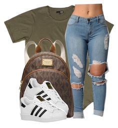 """this outfit"" by lonna19thuggin ❤ liked on Polyvore featuring MICHAEL Michael Kors and adidas Originals"
