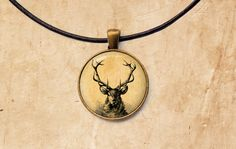 Deer pendant Animal jewelry Stag necklace by SleepyCatPendants
