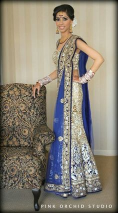 Blue and offwhite bridal lehenga choli For more collection visit http://panachehautecouture.co.in/