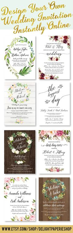 Beautiful wedding invitations - printable templates - perfect for rustic, boho, elegant, simple, cheap & affordable DIY weddings // Edit this printable template instantly in user-friendly online design tool // Truly DIY custom design for your perfect wedd #weddinginvitationscheap