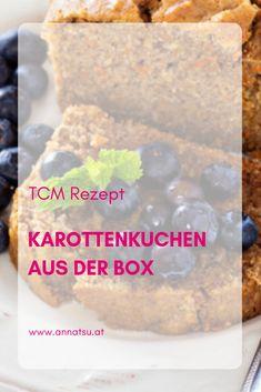 Ein saftiger Karottenkuchen aus der Box. Super einfaches und schnelles Rezept. Die Ernährung nach den 5 Elementen der TCM weiß, dass Kuchen kostbare Körpersäfte und Yin aufbaut und tonisiert. Lass es dir schmecken. Super, Cereal, Grains, Yoga, Snacks, Breakfast, Traditional Chinese Medicine, Kid Recipes, Fast Recipes