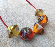 Lampworkbeads #handmadenecklace #handmadejewelry  Necklace Bright Citrus Color Large Glass by CandanImrak