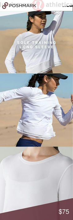 """🌸Lululemon🌸Sole training long sleeve crop Beyond gorgeous Sole training long sleeve crop. Special material is super light weight and UVA protected. Sweat wicking and 4 way stretch. Excellent condition! No size tag. Flat measurements pit to pit 18"""", center down 17"""". lululemon athletica Tops Crop Tops"""