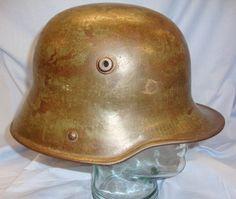 WW1 German 'Coal Scuttle' M16 Steel Helmet With Original Leather Liner Padded With Original Horse Hair. Sn 7627. | Militaria | WARSTUFF